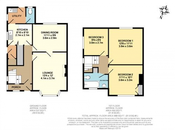 Floor Plan Image for 3 Bedroom Semi-Detached House for Sale in Monkton Road, Huntington, YORK