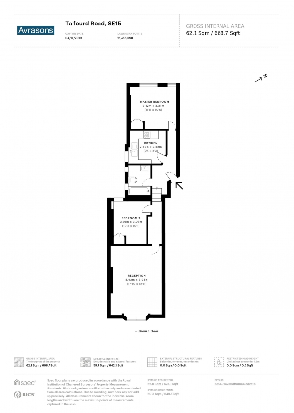 Floor Plan Image for 2 Bedroom Flat to Rent in TALFOURD ROAD, CAMBERWELL