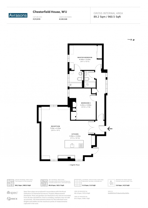 Floor Plan Image for 2 Bedroom Apartment to Rent in CHESTERFIELD GARDENS, MAYFAIR,