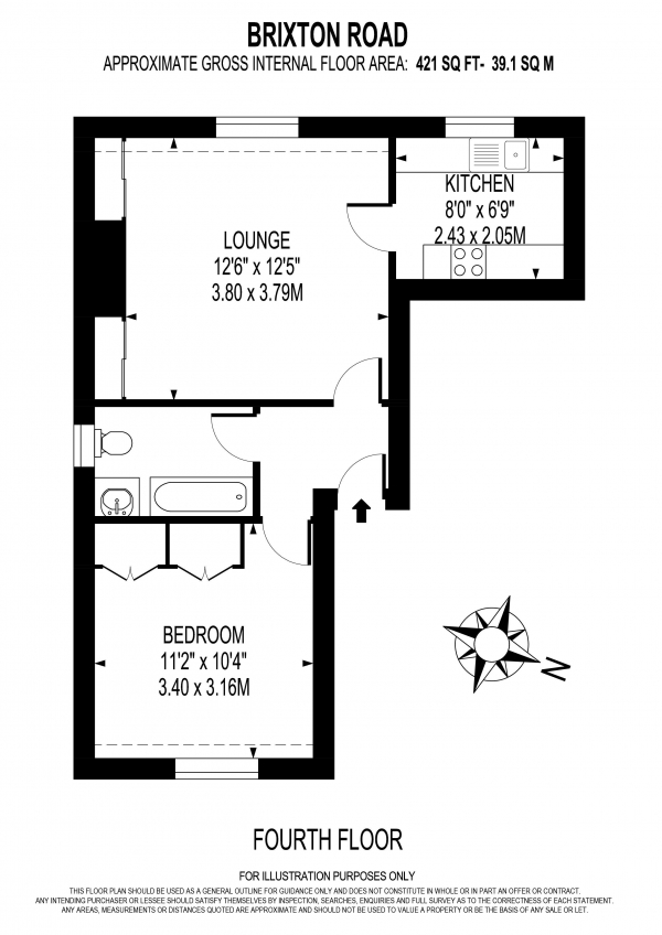 Floor Plan Image for 1 Bedroom Apartment to Rent in BRIXTON ROAD, OVAL
