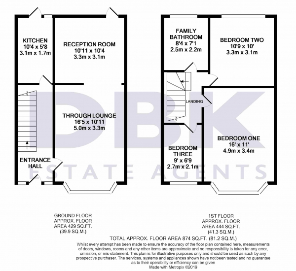 Floor Plan Image for 3 Bedroom Terraced House to Rent in Lawn Close, Ruislip, HA4