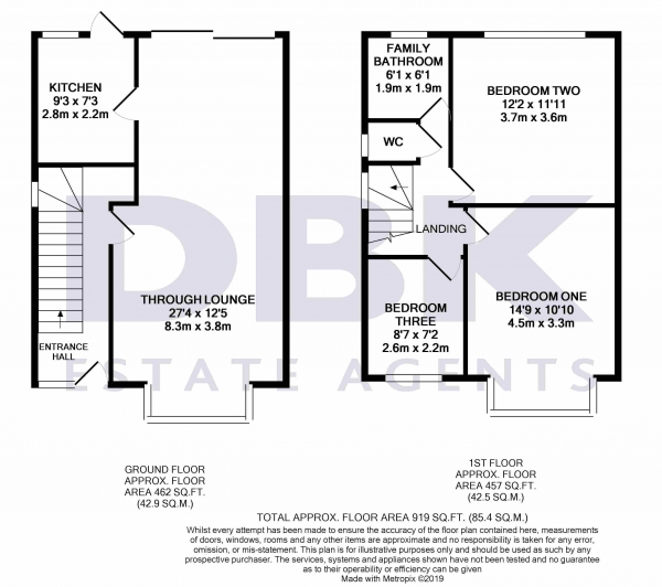 Floor Plan Image for 3 Bedroom End of Terrace House to Rent in Bellclose Road, West Drayton, UB7
