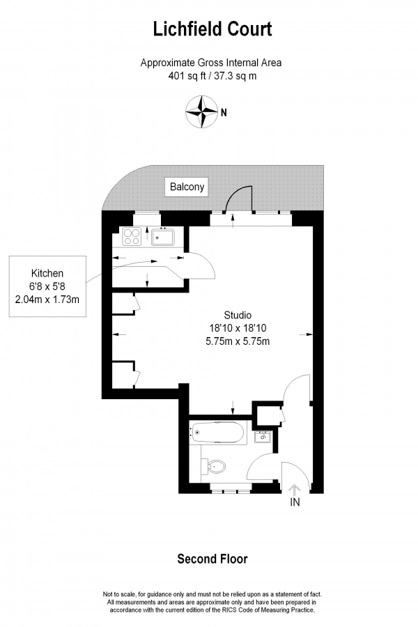 Floor Plan Image for Studio Flat to Rent in Lichfield Court