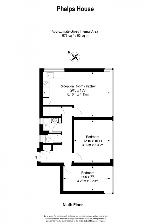 Floor Plan Image for 2 Bedroom Flat for Sale in Felsham Road, West Putney