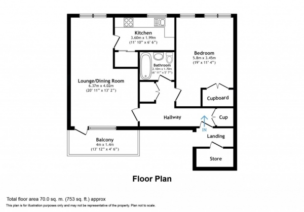 Floor Plan Image for 1 Bedroom Flat for Sale in The Hollies,  Gravesend, DA12