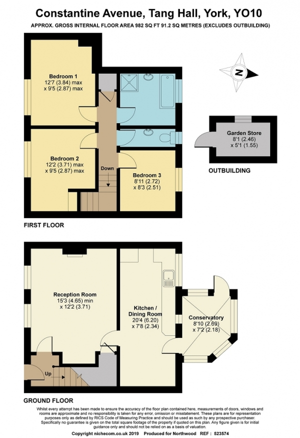 Floor Plan Image for 3 Bedroom Terraced House for Sale in Constantine Avenue, Tang Hall, York, YO10