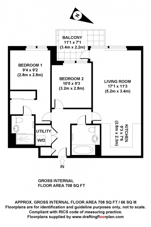 Floor Plan Image for 2 Bedroom Flat for Sale in Smithfield Square,  Hornsey, N8