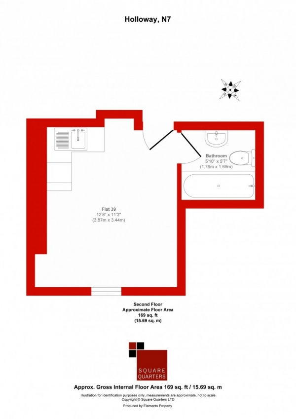 Floor Plan Image for Studio for Sale in Holloway Road,  Holloway, N7