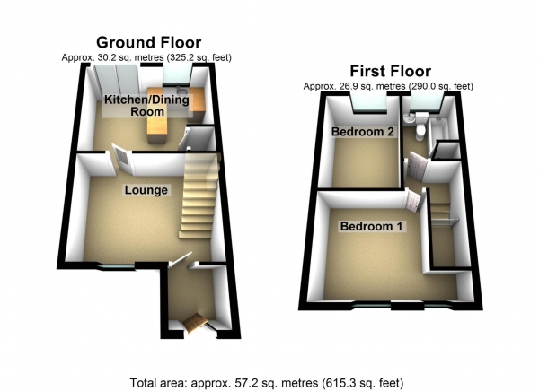 Floor Plan Image for 2 Bedroom Terraced House to Rent in Dalberg Way, London