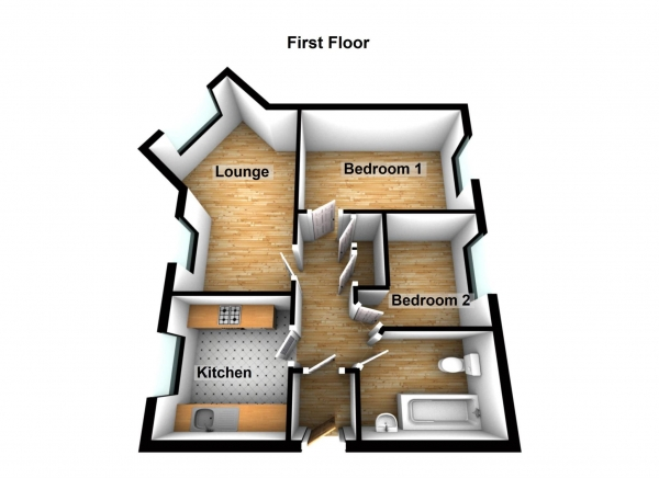 Floor Plan Image for 2 Bedroom Flat for Sale in Greenhaven Drive, Thamesmead