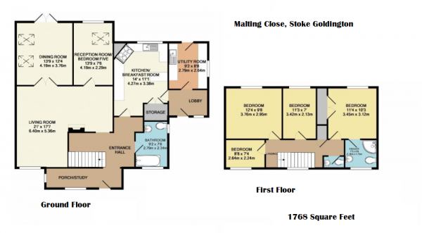 Floor Plan Image for 4 Bedroom Detached House for Sale in Maltings Close, Stoke Goldington, Newport Pagnell, Buckinghamshire