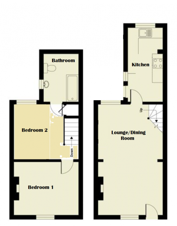 Floor Plan Image for 2 Bedroom Terraced House for Sale in Park View, Newport Pagnell, Buckinghamshire