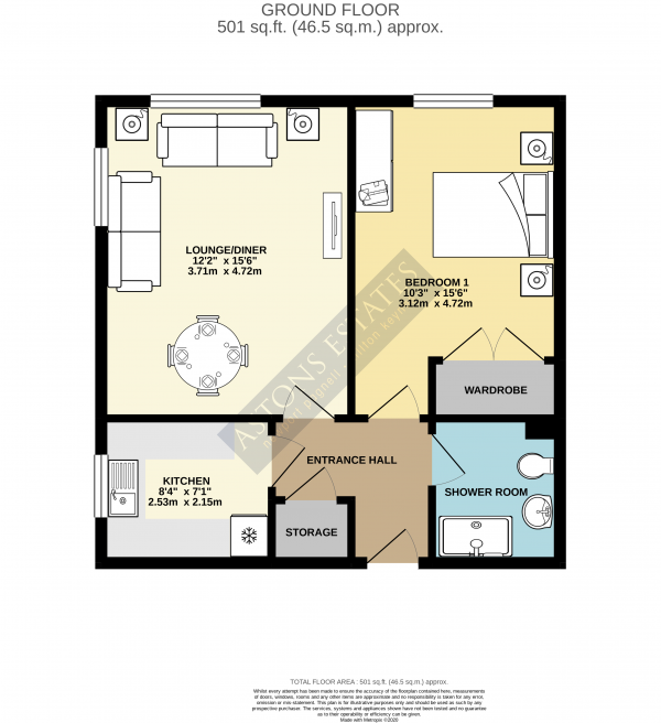 Floor Plan Image for 1 Bedroom Flat for Sale in Ruskin Court, Newport Pagnell, Buckinghamshire