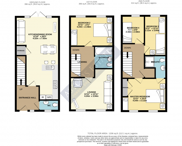 Floor Plan Image for 4 Bedroom Town House for Sale in Top Fair Furlong, Redhouse Park, Milton Keynes, Buckinghamshire