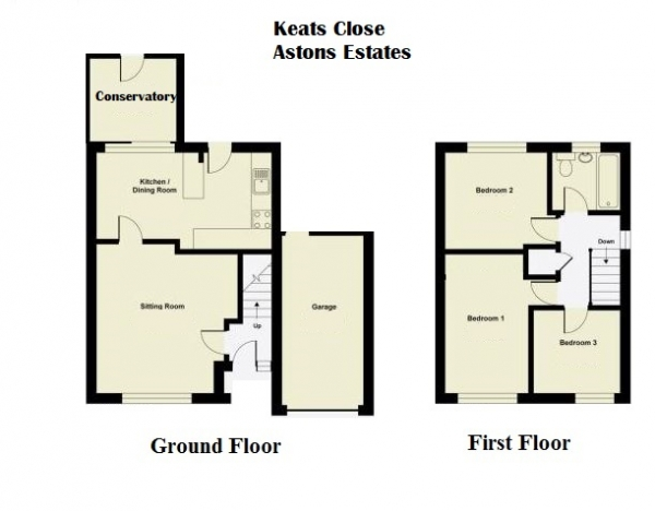 Floor Plan Image for 3 Bedroom Semi-Detached House for Sale in Keats Close, Newport Pagnell, Buckinghamshire