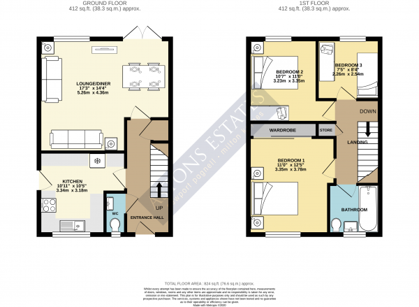 Floor Plan Image for 3 Bedroom Detached House for Sale in Greenwich Garden, Newport Pagnell, Buckinghamshire