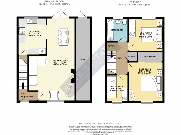 Floor Plan Image for 3 Bedroom End of Terrace House for Sale in Coleridge Close, Newport Pagnell, Buckinghamshire