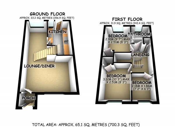 Floor Plan Image for 3 Bedroom Semi-Detached House for Sale in Salisbury Grove, Giffard Park, Milton Keynes, Buckinghamshire