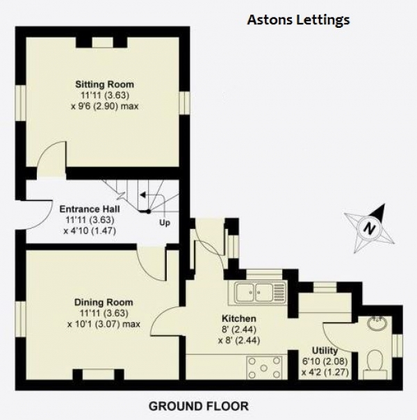 Floor Plan Image for 2 Bedroom Terraced House to Rent in Greenfield Road, Newport Pagnell, MK16