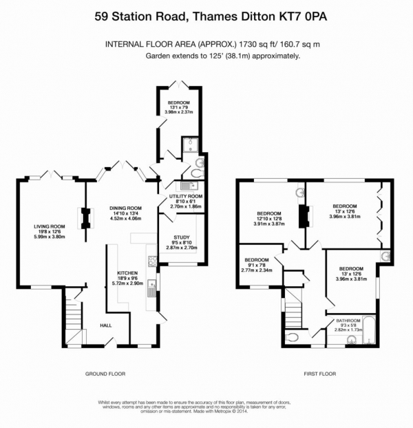 Floor Plan Image for 4 Bedroom Detached House for Sale in Station Road, Thames Ditton