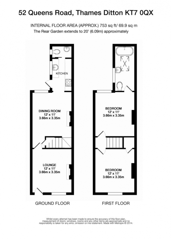 Floor Plan Image for 2 Bedroom Terraced House for Sale in Queens Road, Thames Ditton