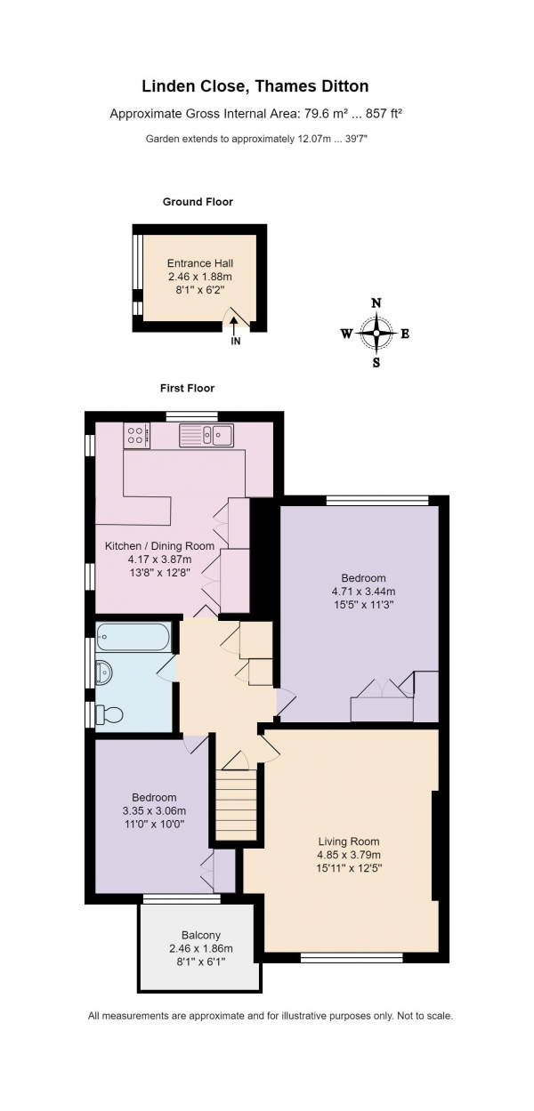 Floor Plan Image for 2 Bedroom Maisonette for Sale in Linden Close, Thames Ditton