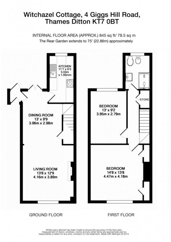 Floor Plan Image for 2 Bedroom Cottage for Sale in Giggs Hill Road, Thames Ditton