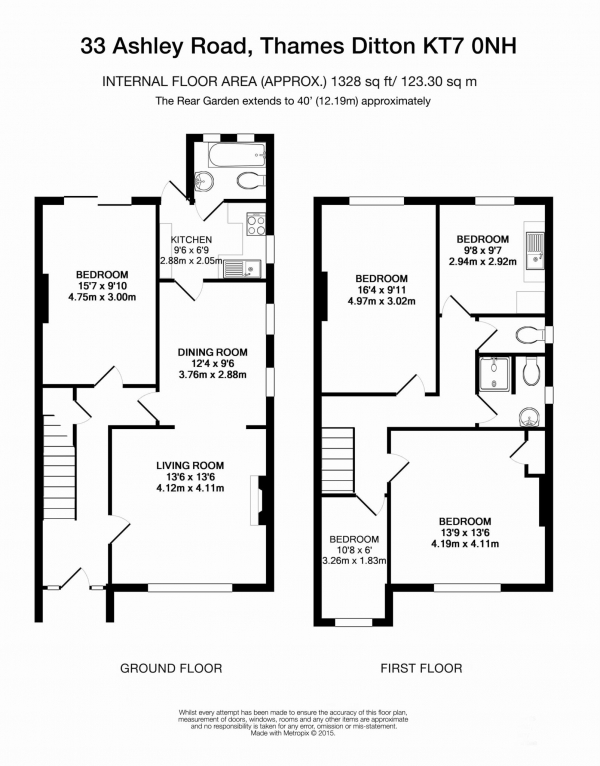 Floor Plan Image for 4 Bedroom Semi-Detached House for Sale in Ashley Road, Thames Ditton