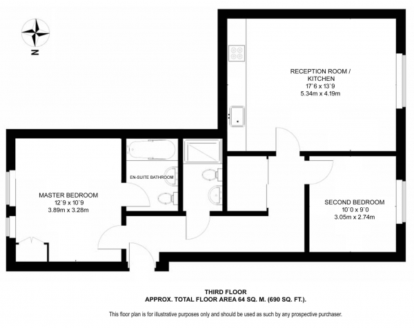 Floor Plan Image for 2 Bedroom Apartment for Sale in Bromyard House, Acton, W3 7BY