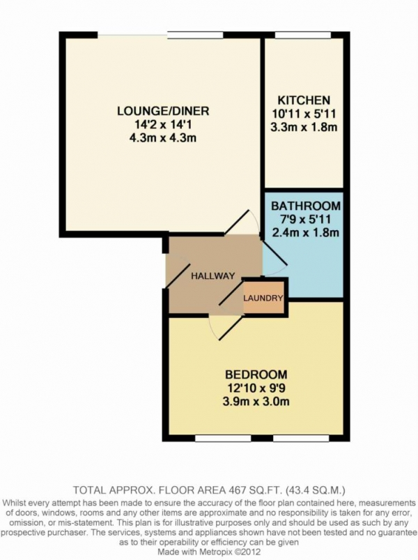 Floor Plan Image for 1 Bedroom Apartment to Rent in Massingberd Way, Tooting Bec