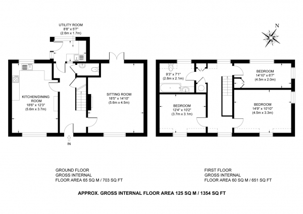Floor Plan Image for 3 Bedroom Semi-Detached House for Sale in Crafton, Leighton Buzzard