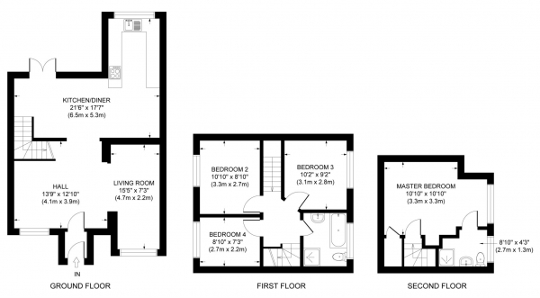 Floor Plan Image for 4 Bedroom Semi-Detached House to Rent in Church View, Long Marston