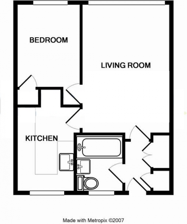 Floor Plan Image for 1 Bedroom Apartment to Rent in South Lynn Crescent, Bracknell, Berkshire, RG12 7JY