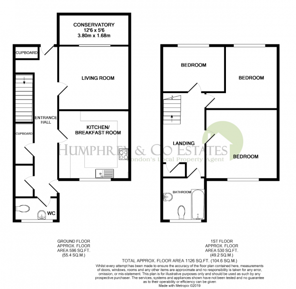 Floor Plan Image for 3 Bedroom Terraced House for Sale in Cabtree, Peterborough, Cambridgeshire, PE4 7EH