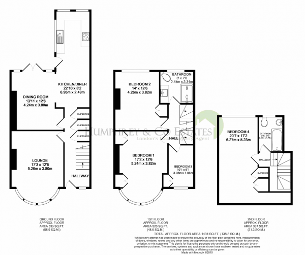 Floor Plan Image for 4 Bedroom Terraced House for Sale in Hale End Road, WOODFORD GREEN, IG8 9LL