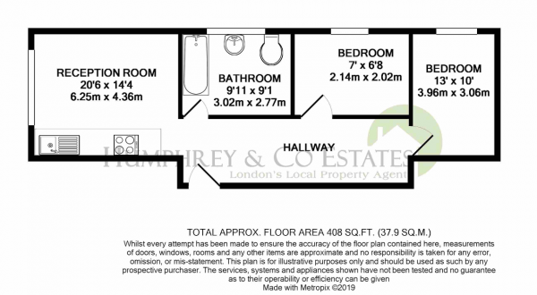 Floor Plan Image for 2 Bedroom Flat to Rent in Church Hill, LONDON, E17 3AG