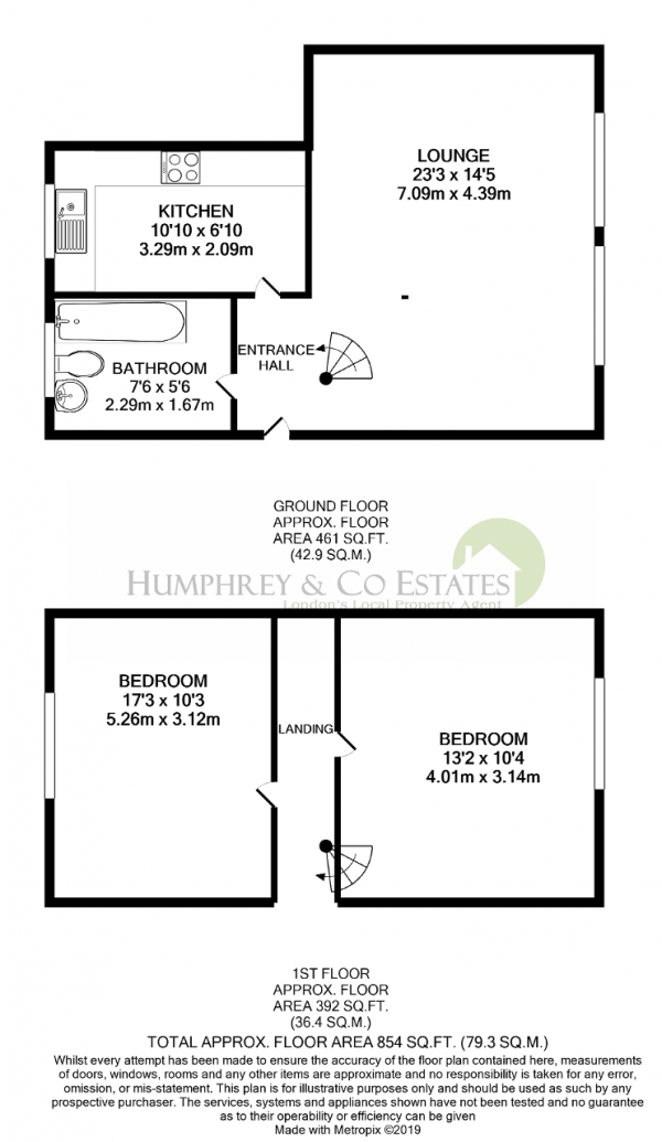 Floor Plan Image for 2 Bedroom Detached House to Rent in Church Hill, LONDON, E17 3AG