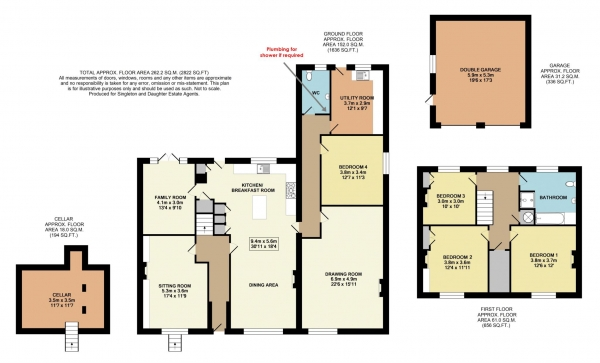 Floor Plan for 4 Bedroom Country House for Sale in Upper Basildon, Berkshire, Upper Basildon, RG8, 8SU - Guide Price &pound849,000