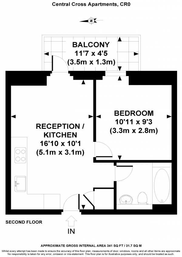 Floor Plan Image for 1 Bedroom Apartment for Sale in South End, CROYDON