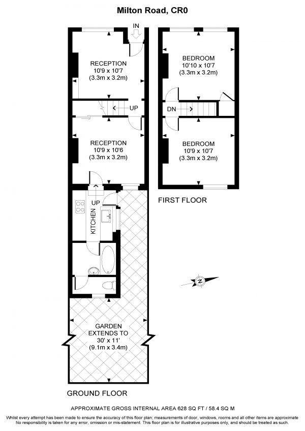 Floor Plan Image for 2 Bedroom Terraced House to Rent in Milton Road, Croydon