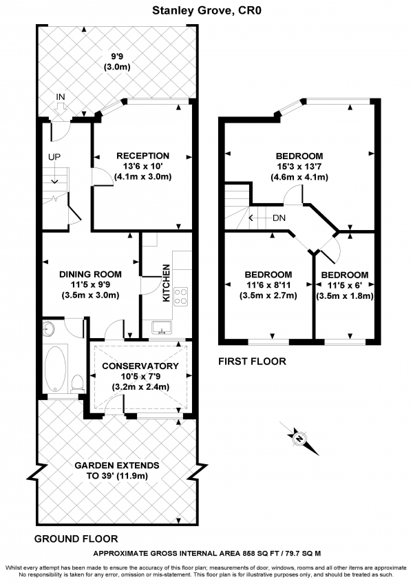 Floor Plan Image for 3 Bedroom End of Terrace House for Sale in Stanley Grove, CROYDON