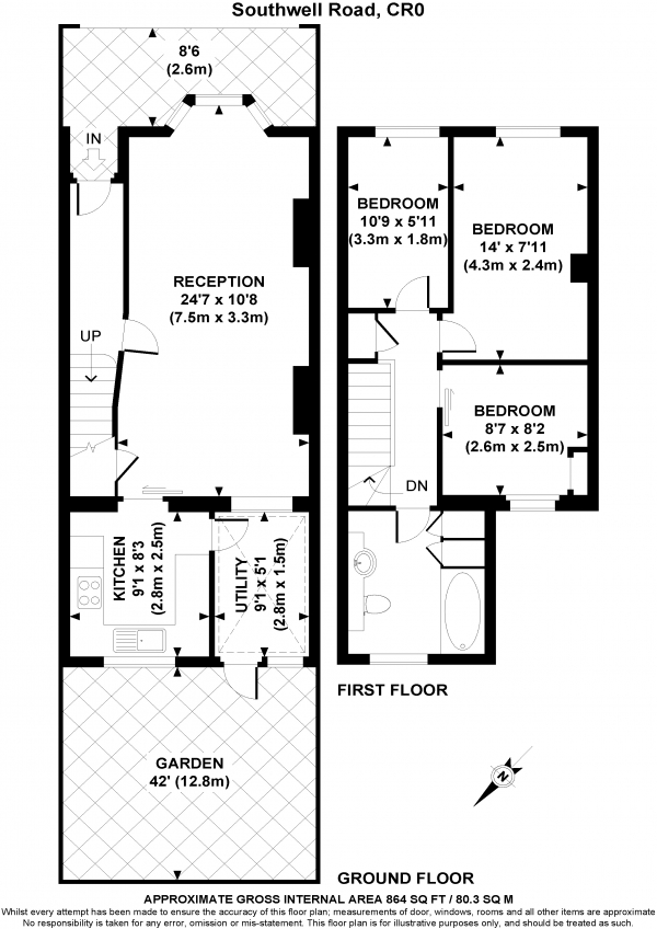 Floor Plan Image for 3 Bedroom Terraced House for Sale in Southwell Road, CROYDON, Surrey, CR0