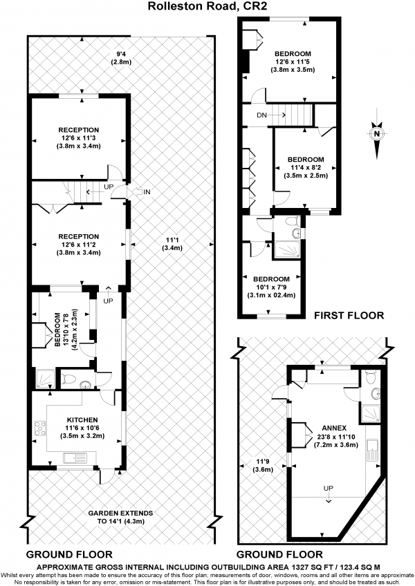 Floor Plan Image for 4 Bedroom Semi-Detached House for Sale in Rolleston Road, SOUTH CROYDON, Surrey, CR2