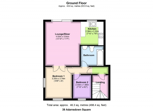 Floor Plan Image for 2 Bedroom Apartment for Sale in Windsor Mews, Adamsdown Square, Cardiff