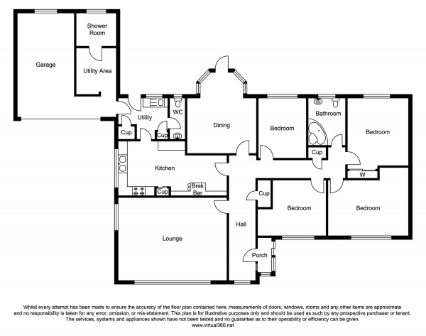 Floor Plan Image for 4 Bedroom Detached Bungalow for Sale in Flint Mountain, CH65QR