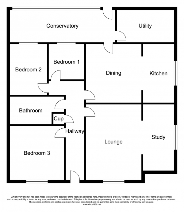 Floor Plan Image for 3 Bedroom Detached Bungalow for Sale in Hay Green, Terrington St Clement, Kings Lynn