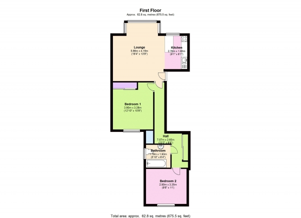 Floor Plan Image for 2 Bedroom Apartment for Sale in 96 Knollys Road, London, SW16