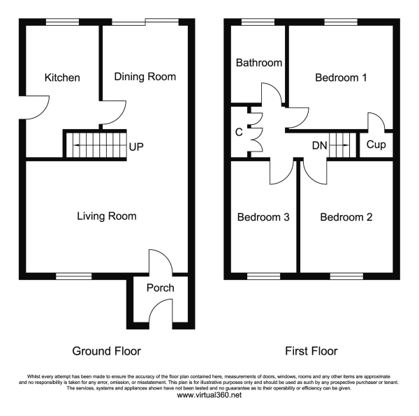 Floor Plan for 3 Bedroom Semi-Detached House for Sale in Coton-in-the-elms, Swadlincote, DE12, 8HF -  &pound139,950