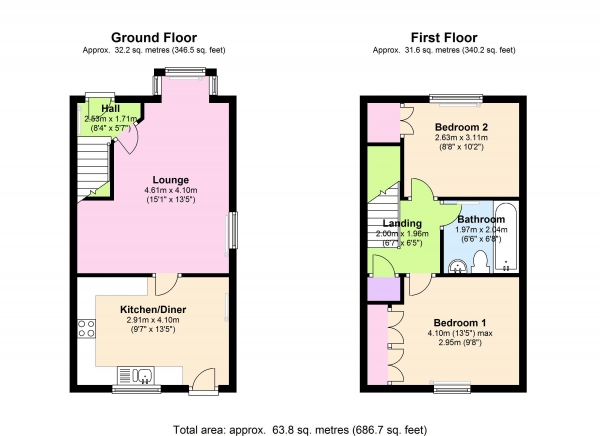 Floor Plan Image for 2 Bedroom End of Terrace House for Sale in Hampton Close, London, N11