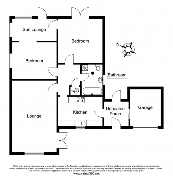 Floor Plan Image for 2 Bedroom Detached Bungalow for Sale in Tor Gardens, East ogwell, Newton Abbot